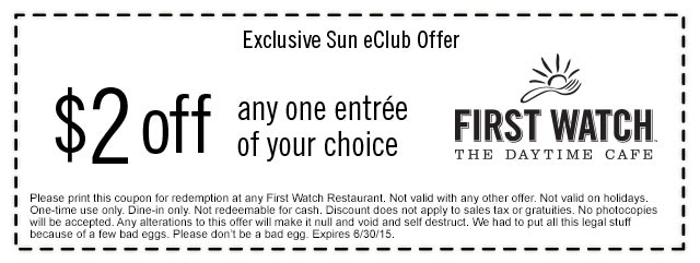 First Watch Coupon July 2017 $2 off an entree at First Watch daytime cafe