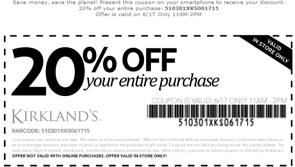 Kirklands Coupon May 2017 20% off everything until 2pm today at Kirklands