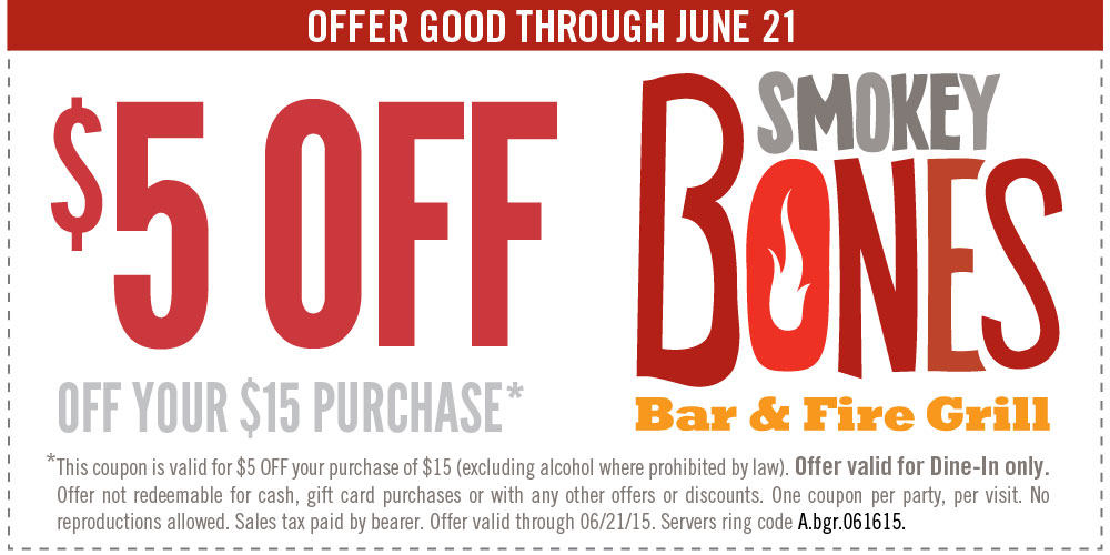 Smokey Bones Coupon March 2018 $5 off $15 at Smokey Bones bar & fire grill