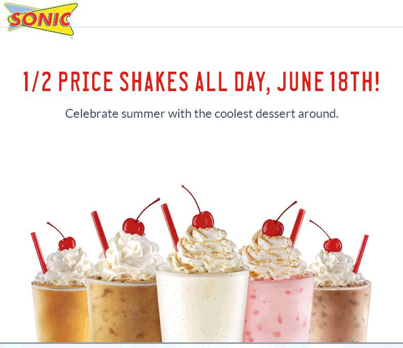 Sonic Drive-In Coupon June 2017 50% off shakes Thursday at Sonic Drive-In