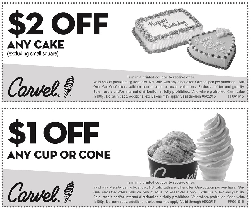 Carvel Coupon January 2017 Shave a buck off your ice cream from Carvel