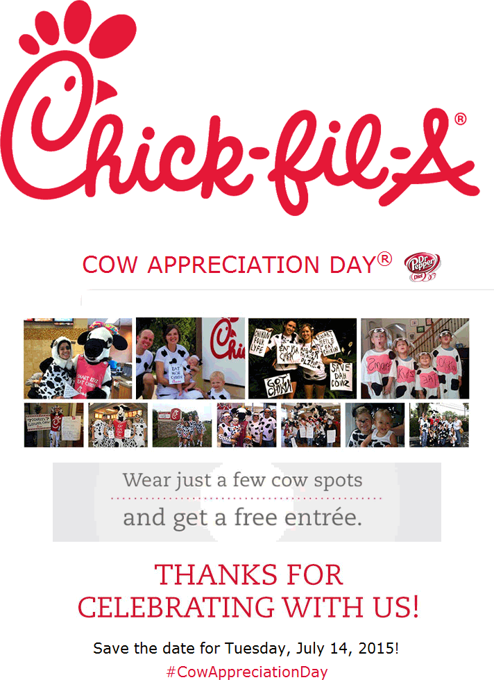Chick-fil-A Coupon May 2017 Dress like a cow for a free entree the 14th at Chick-fil-A