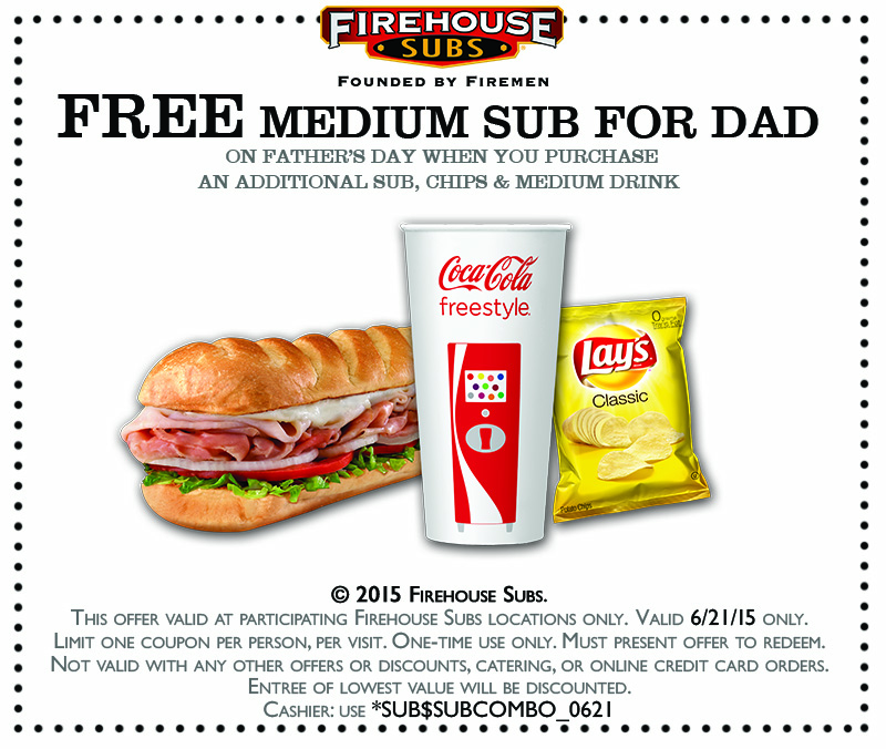 Firehouse Subs Coupon March 2019 Second sub free for Dad Sunday at Firehouse Subs