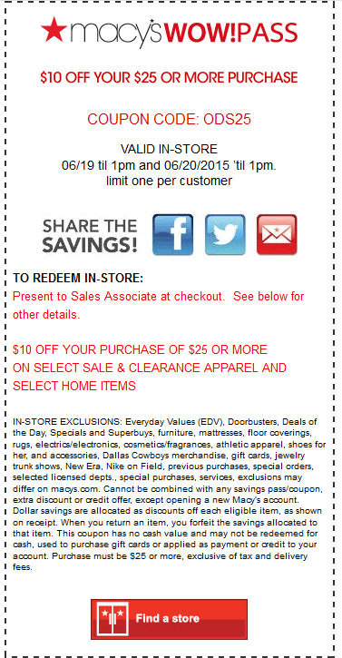 Macys Coupon June 2017 $10 off $25 til 1pm at Macys, or online via promo code ODS25