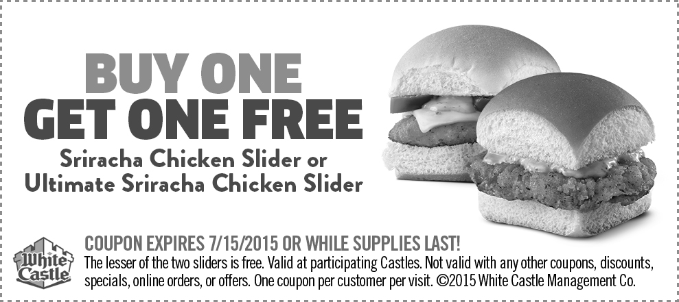 White Castle Coupon May 2019 Second chicken slider free at White Castle