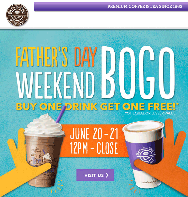 Coffee Bean & Tea Leaf Coupon May 2017 Second drink free at Coffee Bean & Tea Leaf