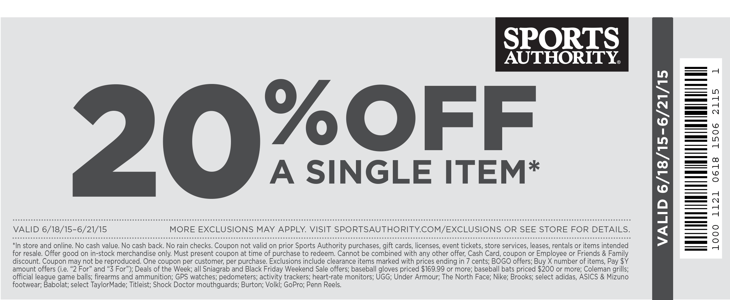 Sports Authority Coupon December 2017 20% off a single item at Sports Authority, ditto online