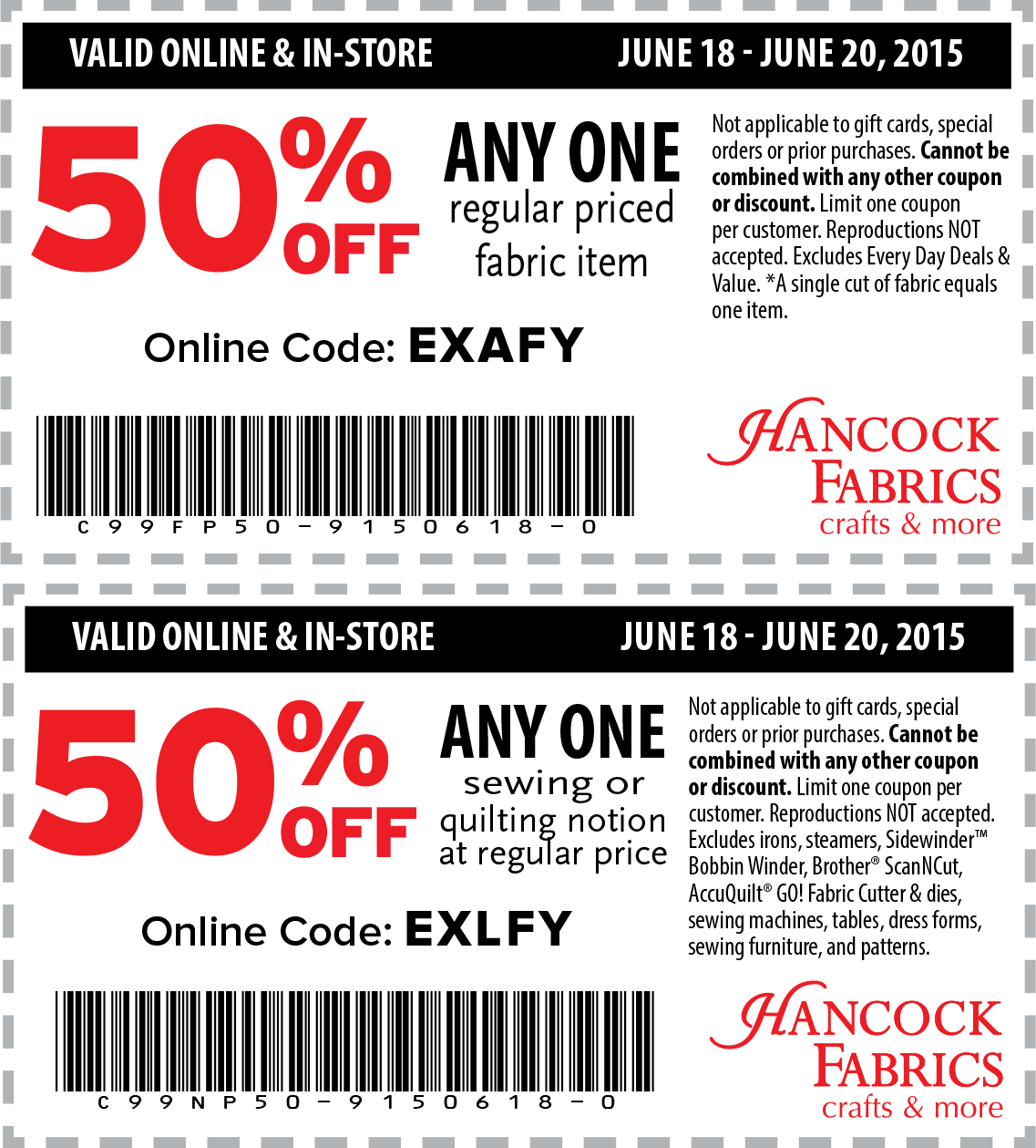 Hancock Fabrics Coupon May 2017 50% off a single item at Hancock Fabrics, or online via promo code EXAFY
