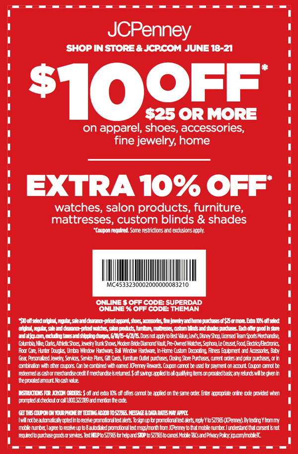 JCPenney Coupon January 2018 $10 off $25 at JCPenney, or online via promo code SUPERDAD