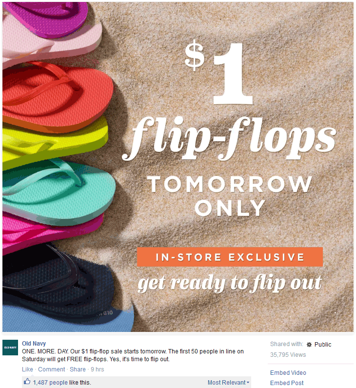 Old Navy Coupon June 2018 Free flip flops to first 50 in line today at Old Navy