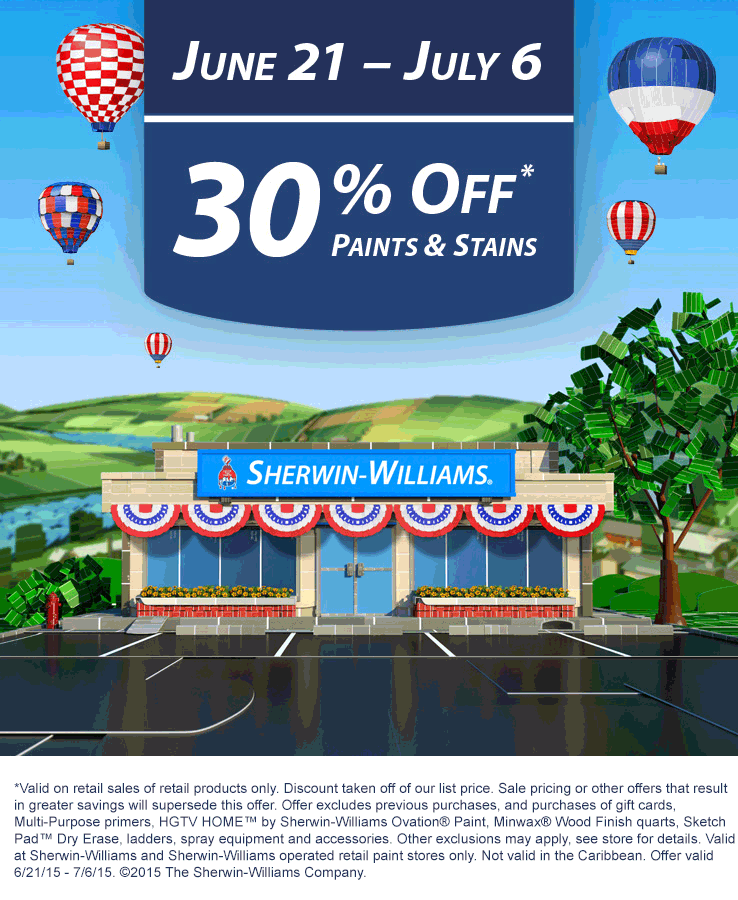 Sherwin Williams Coupon March 2017 30% off paints & stains at Sherwin Williams