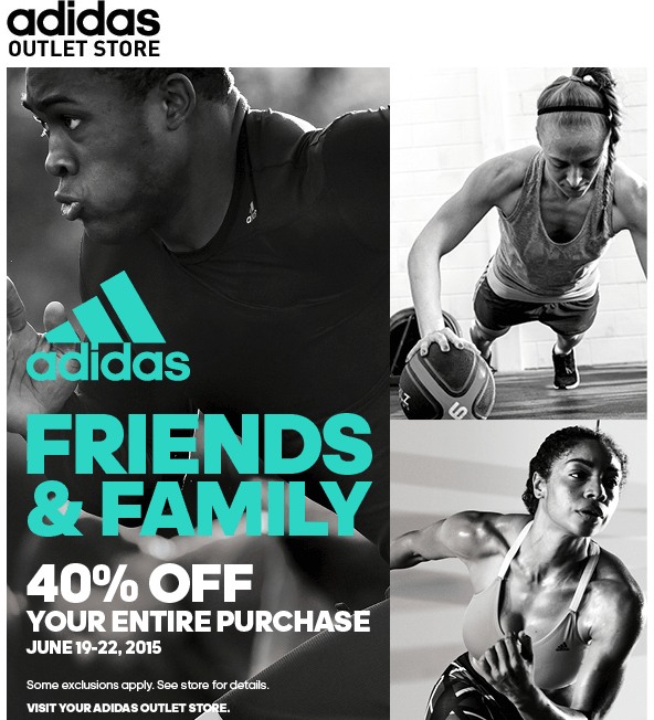 AdidasOutlet.com Promo Coupon Extra 40% off everything at Adidas Outlet