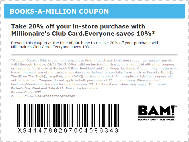 Books-A-Million Coupon May 2018 10-20% off today at Books-A-Million, or $5 off $35 online via promo codeTH4NKS