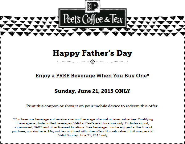 Peets Coffee & Tea Coupon July 2018 Second drink free today at Peets Coffee & Tea