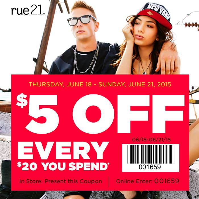 Rue21 Coupon February 2019 $5 off every $20 today at rue21, or online via promo code 001659