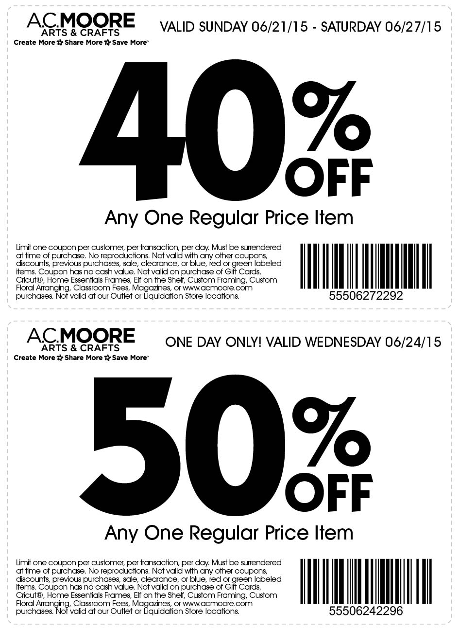 A.C. Moore Coupon November 2017 40% off a single item & more at A.C. Moore
