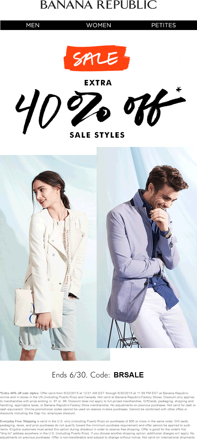 Banana Republic Coupon April 2017 Extra 40% off sale items at Banana Republic, or online via promo code BRSALE