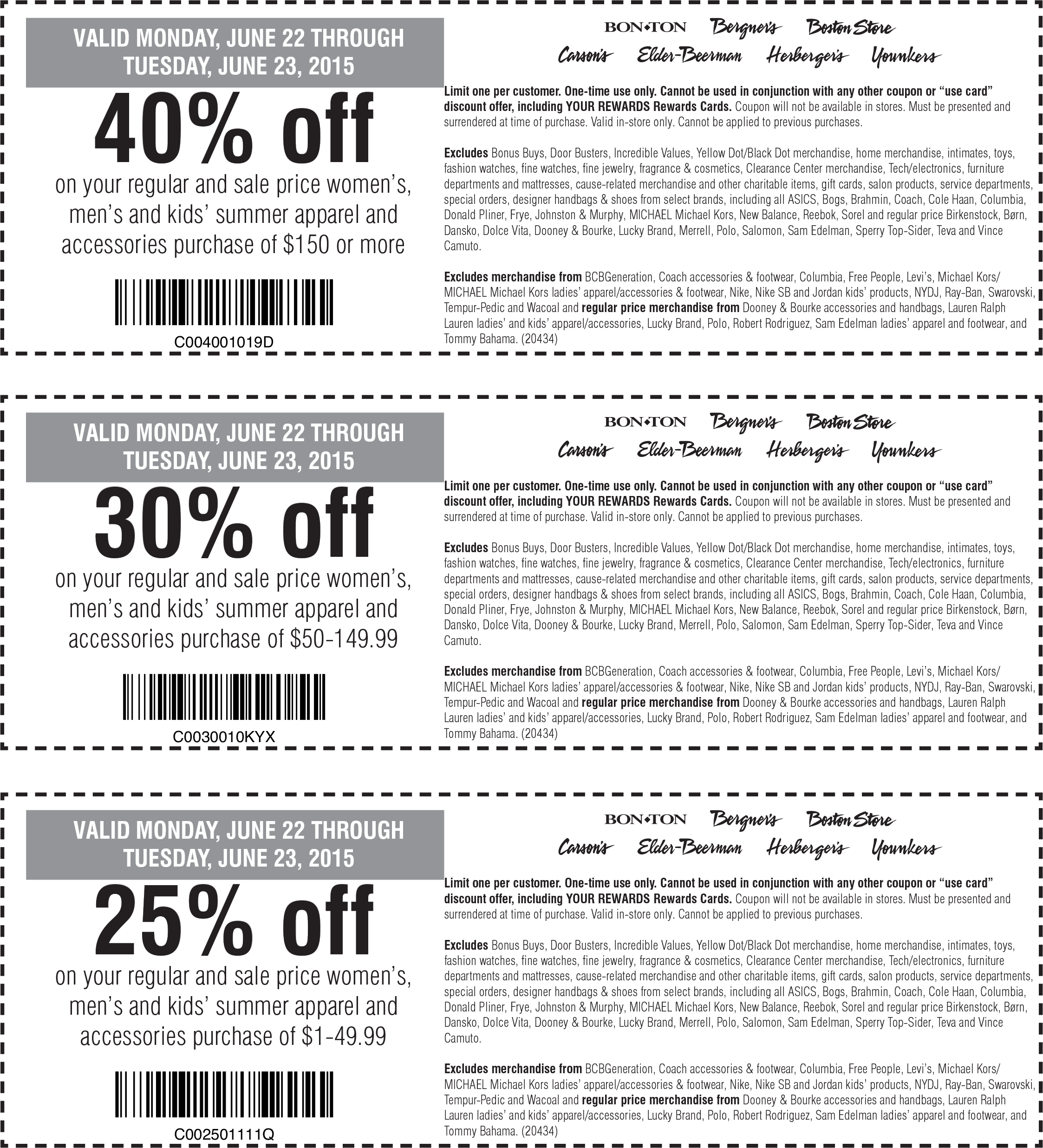 Carsons Coupon December 2016 25-40% off summer gear at Carsons, Bon Ton, Bergners, Boston Store, Elder-Beerman, Herbergers & Younkers stores
