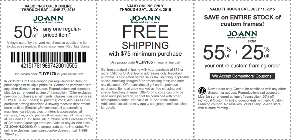 Jo-Ann Fabric Coupon January 2018 50% off a single item & more at Jo-Ann Fabric, or online via promo code TUYP178