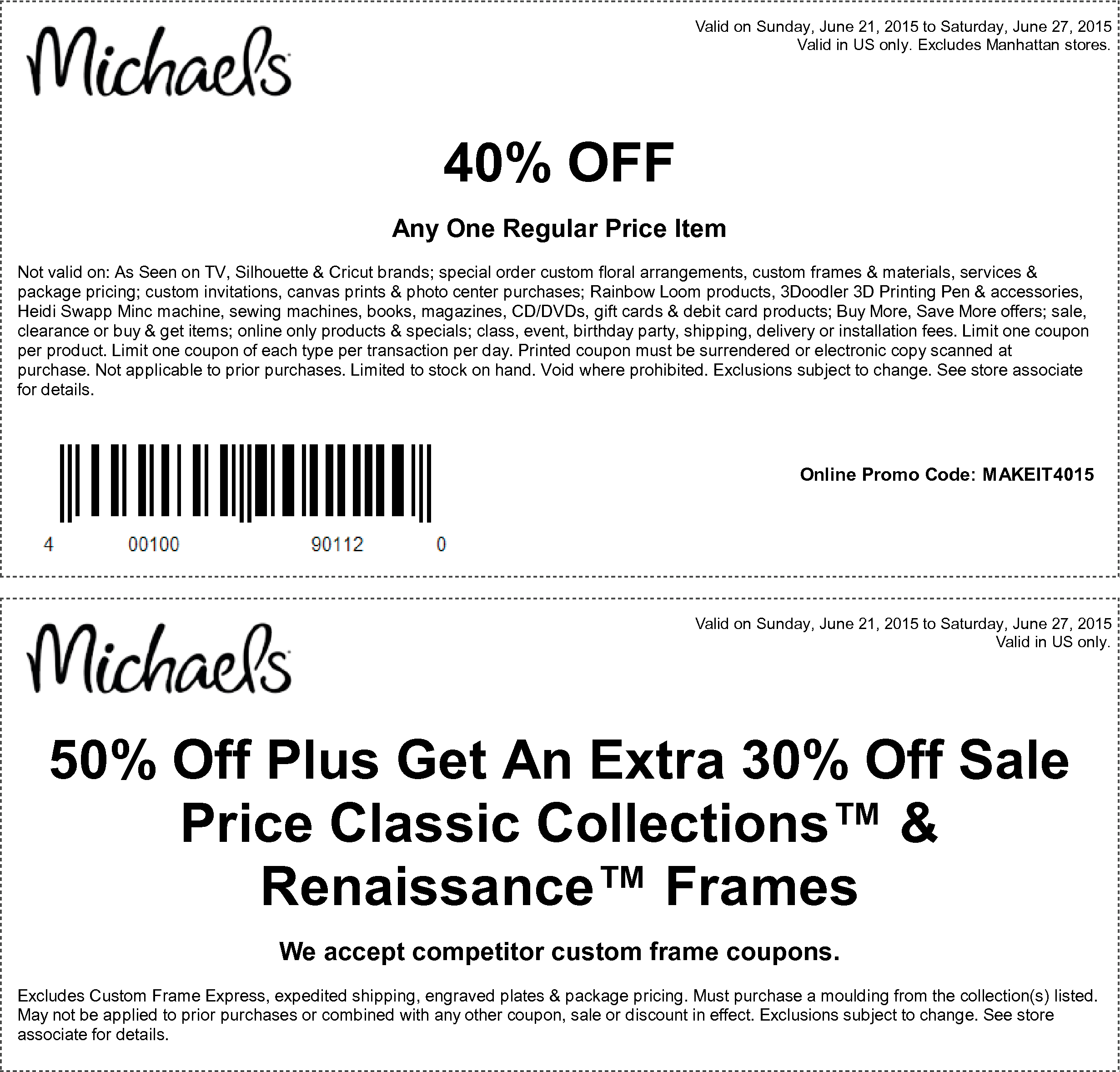 Michaels Coupon January 2017 40% off a single item at Michaels, or online via promo code MAKEIT4015