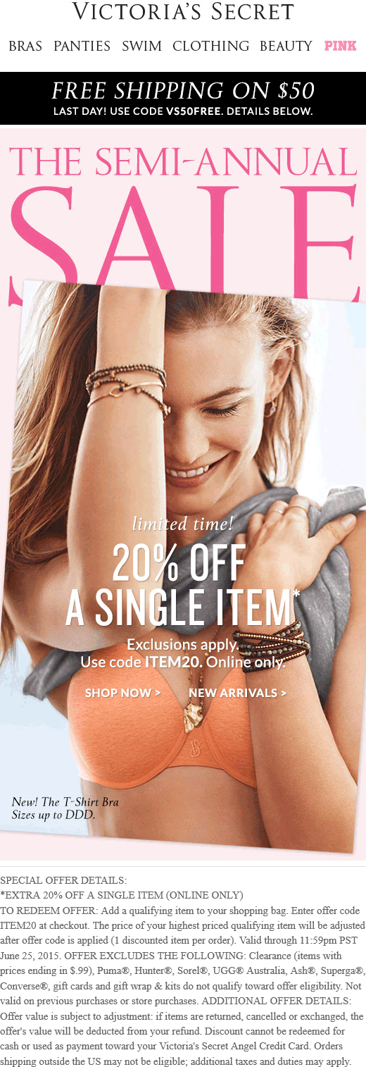 Victorias Secret Coupon February 2018 20% off a single item online at Victorias Secret via promo code ITEM20