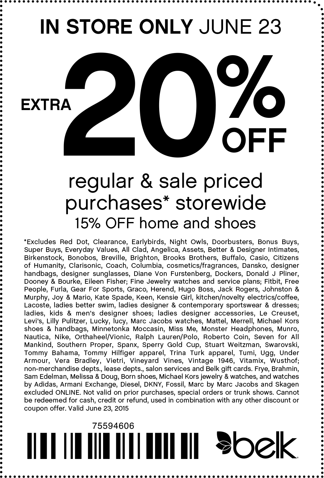 Belk Coupon January 2017 Extra 20% off today at Belk, or online via promo code 96995193