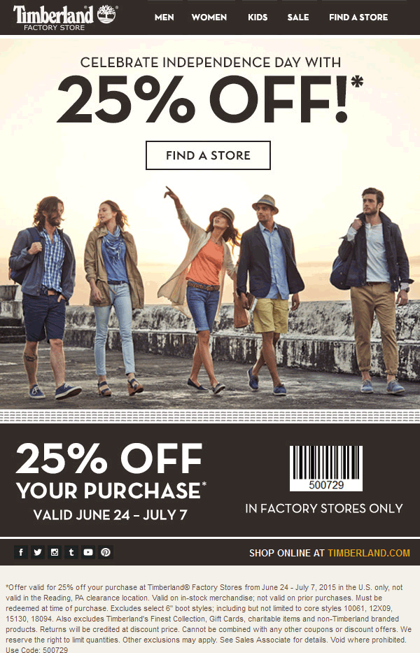 Timberland Factory Coupon November 2017 25% off at Timberland Factory stores