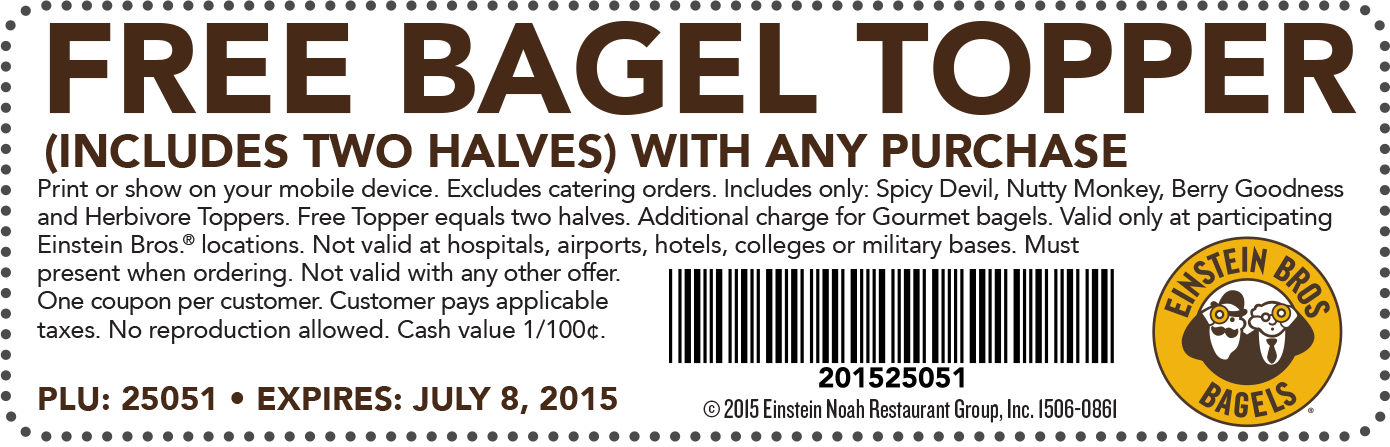 Einstein Bros Bagels Coupon September 2018 Free bagel topper with any order at Einstein Bros Bagels