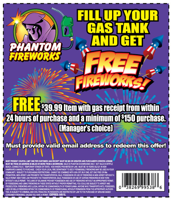 Phantom Fireworks Coupon March 2018 Free $40 item with gas receipt + $150 spent at Phantom Fireworks