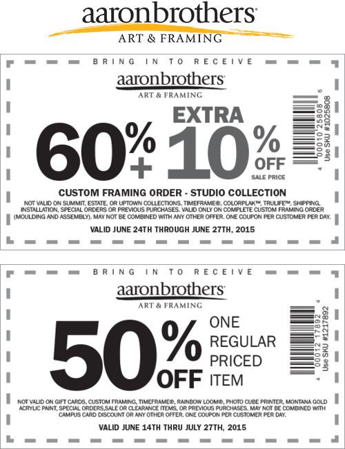 Aaron Brothers Coupon July 2017 50% off a single item & more at Aaron Brothers art & framing
