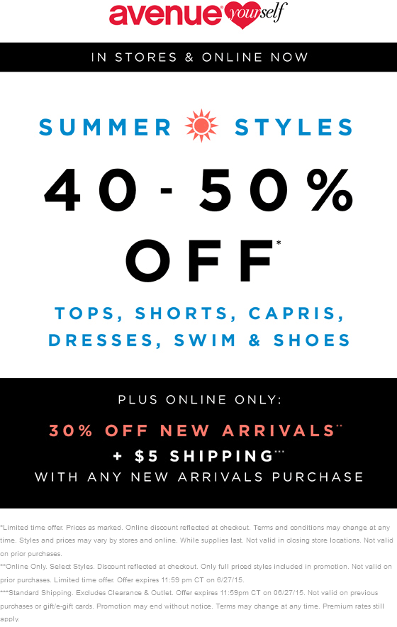 Avenue.com Promo Coupon 40-50% off summer styles at Avenue, ditto online + 30% off new arrivals