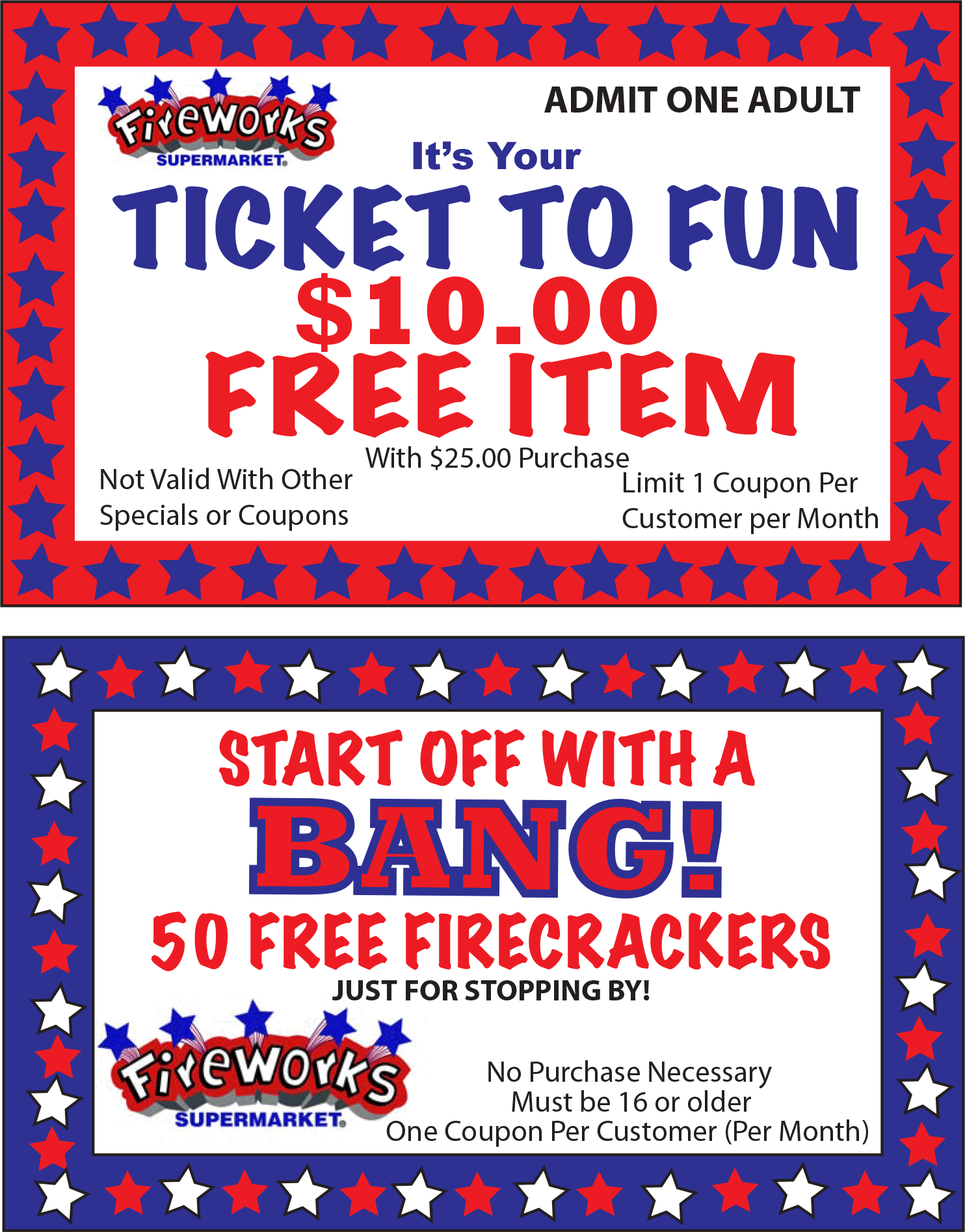 Fireworks Supermarket Coupon October 2016 $10 item free with $25 spent at Fireworks Supermarket