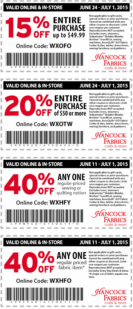 Hancock Fabrics Coupon August 2017 15-40% off at Hancock Fabrics, or online via promo code WXOFO