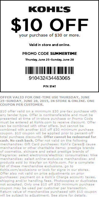 Kohls Coupon September 2017 $10 off $30 at Kohls, or online via promo code SUMMERTIME