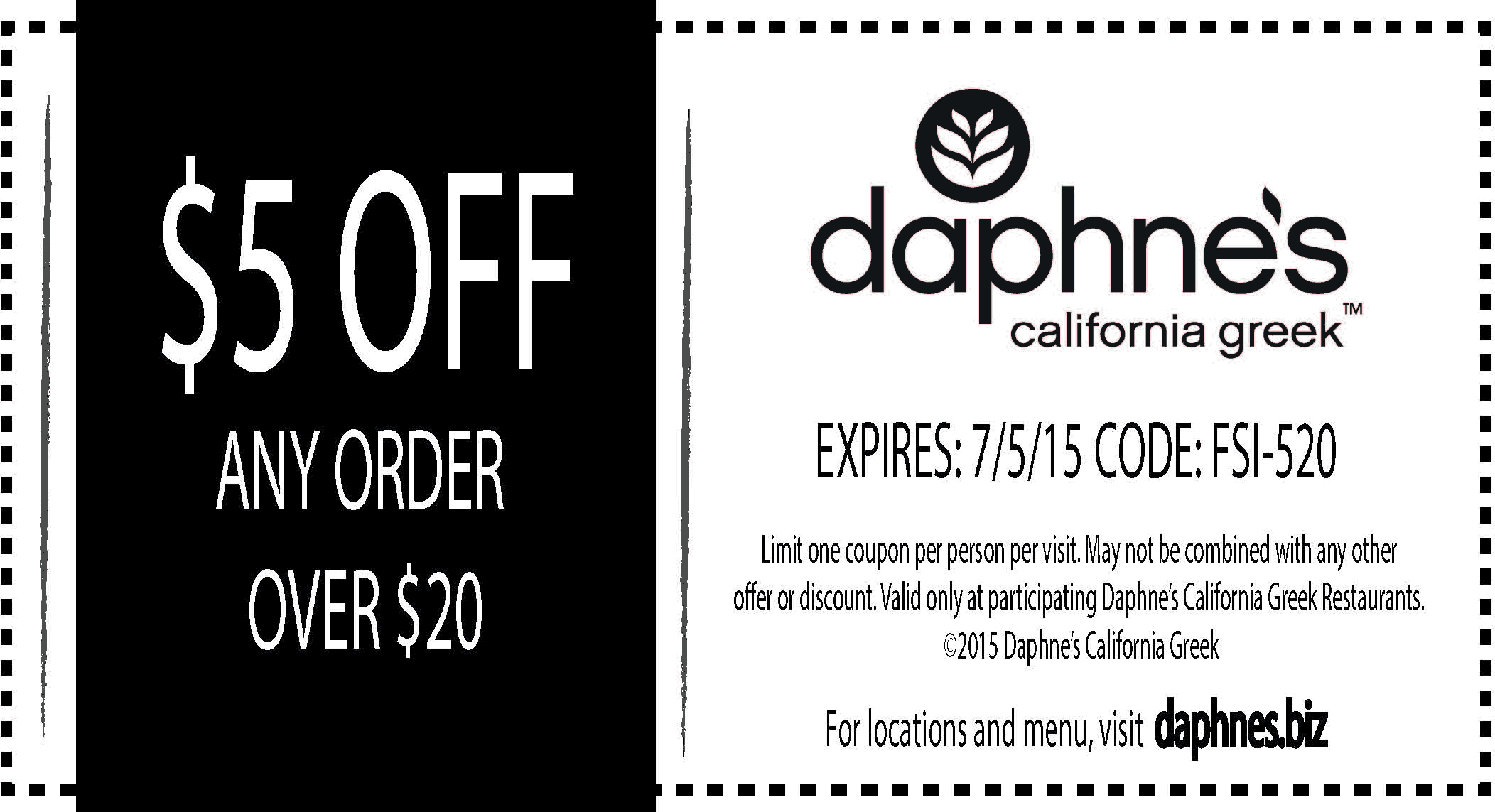 Daphnes California Greek Coupon August 2017 $5 off $20 at Daphnes California Greek restaurants