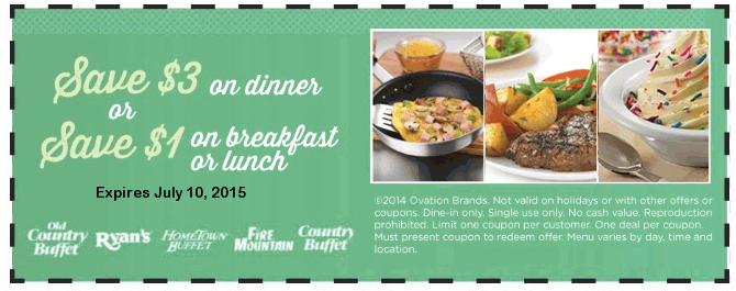 Old Country Buffet Coupon July 2017 $3 off dinner at Hometown Buffet, Ryans, Old Country Buffet & Fire Mountain