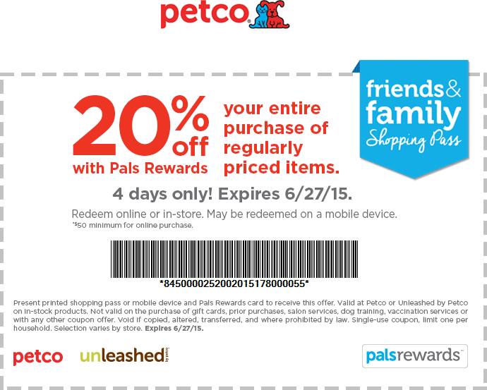 Petco Coupon October 2016 20% off at Petco, or 20% off $50 online via promo code FRIENDS