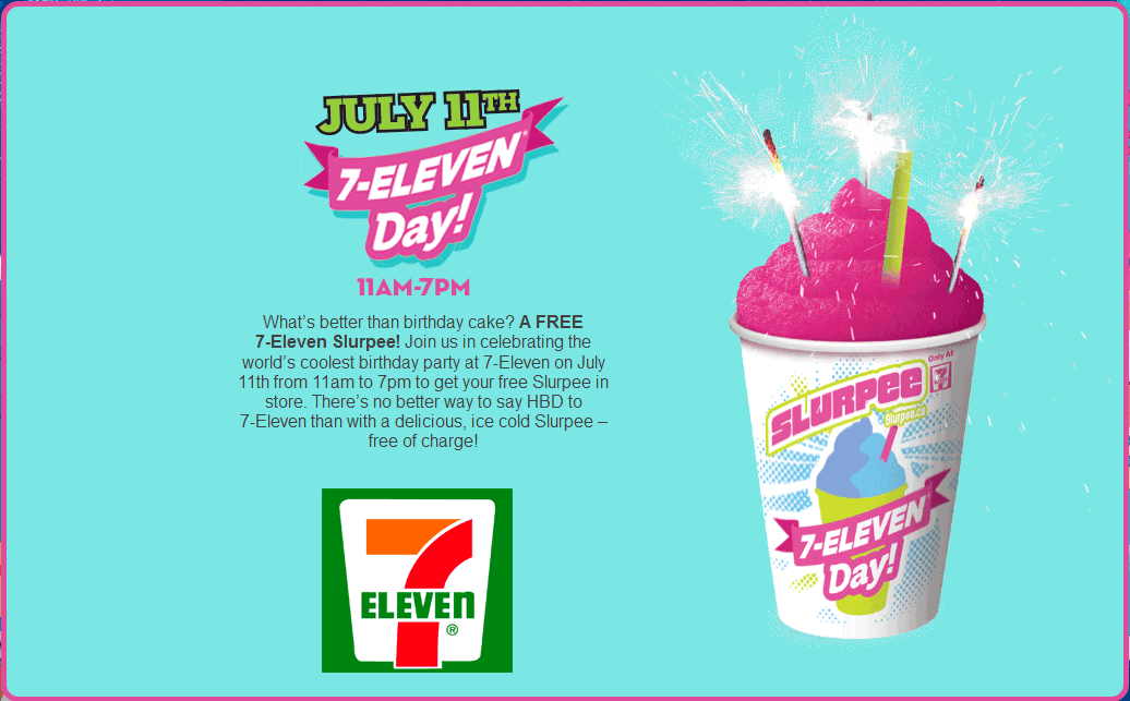 7-Eleven Coupon September 2017 Free slurpee the 11th at 7-Eleven