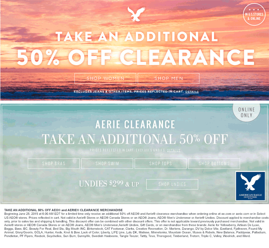 American Eagle Outfitters Coupon May 2018 Extra 50% off clearance at American Eagle Outfitters, ditto online - also at Aerie