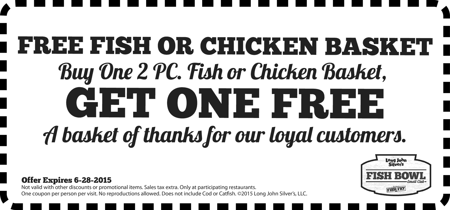 Long John Silvers Coupon May 2018 Second 2pc basket free at Long John Silvers
