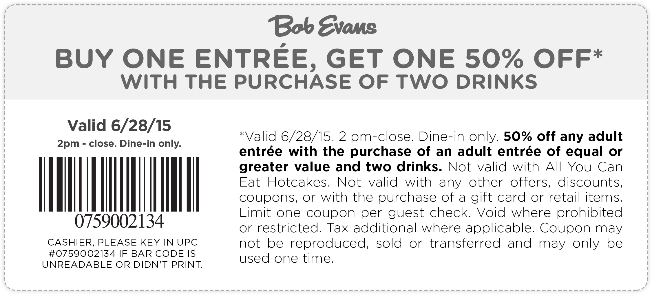 Bob Evans Coupon June 2018 Second entree 50% off today at Bob Evans