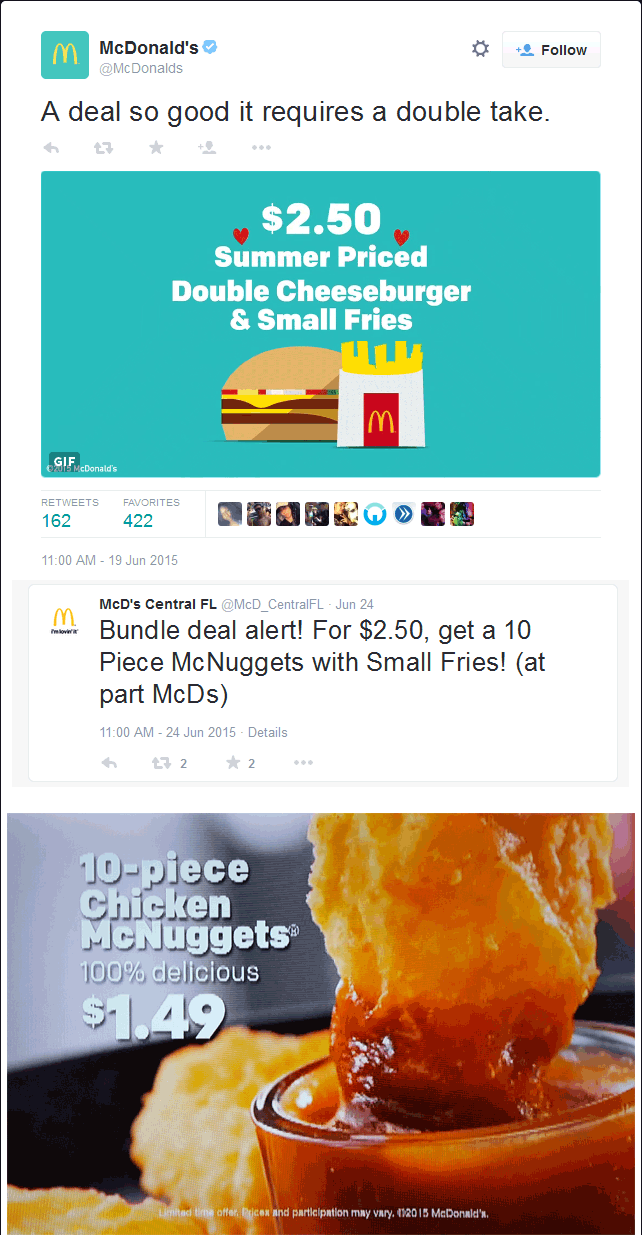 McDonalds Coupon September 2018 Various McDonalds have 10pc nuggets $1.49, $2.50 double cheeseburger + fries & more this summer
