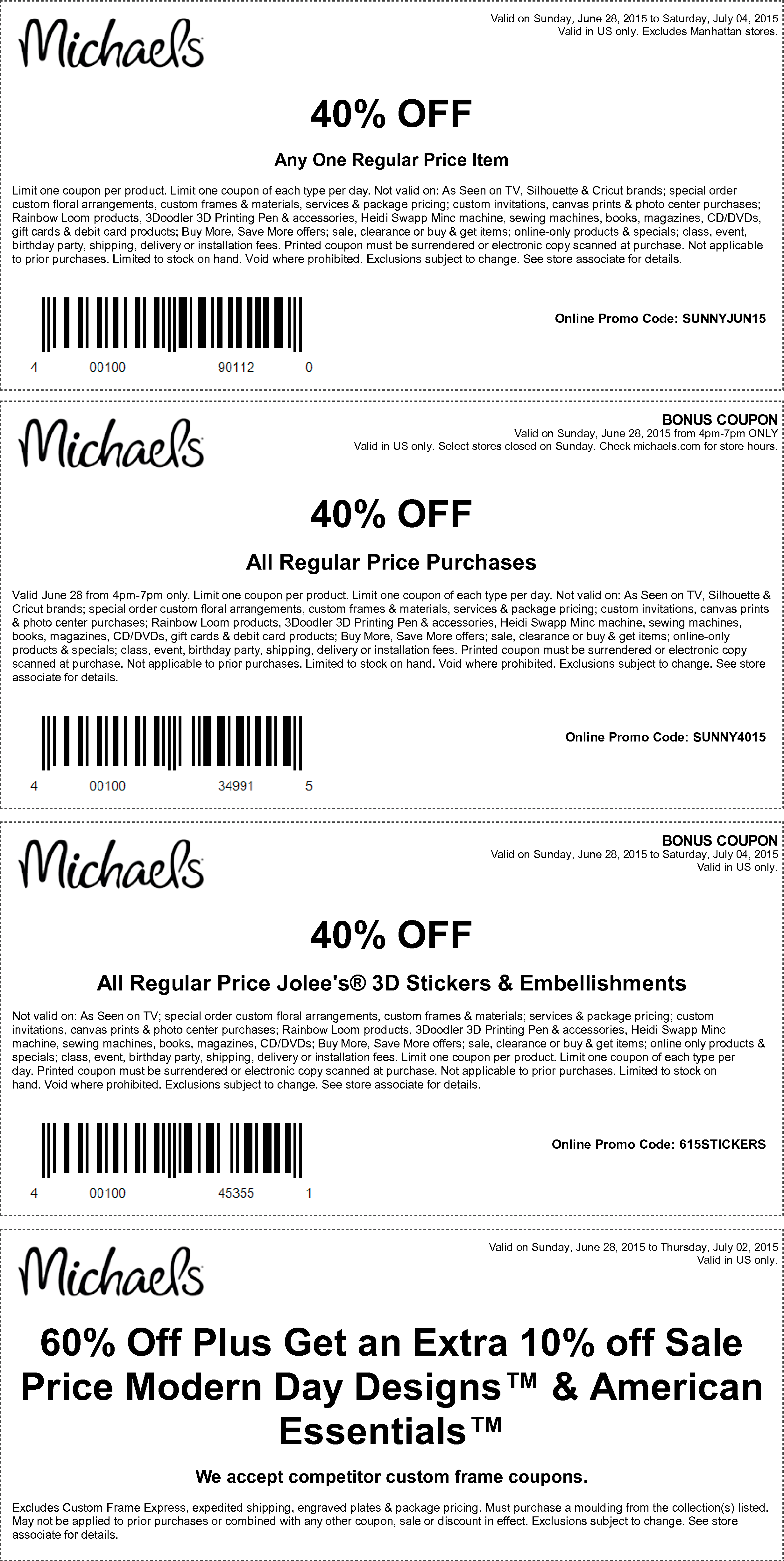 Michaels Coupon April 2018 40% off the tab, a single item & more at Michaels, or online via promo code SUNNYJUN15