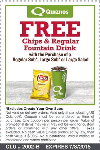 Quiznos Coupon April 2017 Chips & drink free with your sub at Quiznos