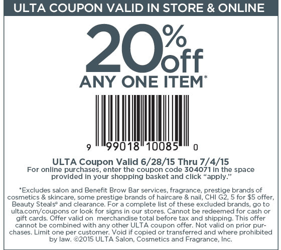 Ulta Coupon October 2016 20% off a single item at Ulta, or online via promo code 304071