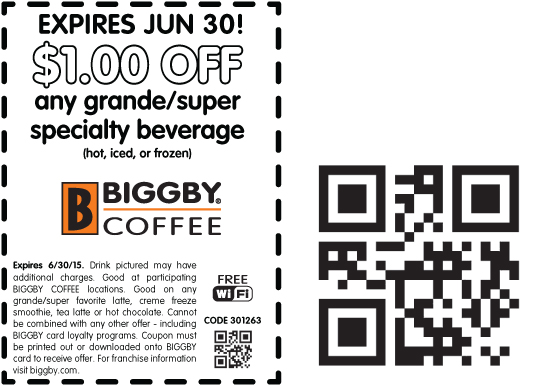 Biggby Coffee Coupon September 2018 $1 buck off your grande drink at Biggby Coffee
