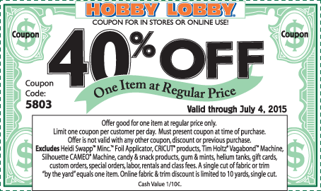 Hobby Lobby Coupon March 2017 40% off a single item at Hobby Lobby, or online via promo code 5803