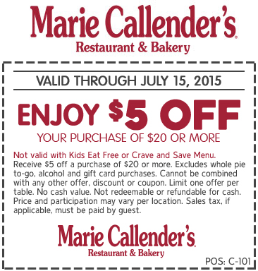 Marie Callenders Coupon August 2018 $5 off $20 at Marie Callenders restaurant & bakery