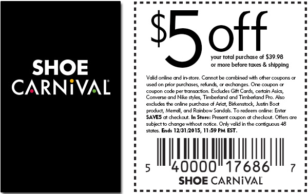 Shoe Carnival Coupon January 2018 $5 off $40 at Shoe Carnival, or online via promo code SAVE5