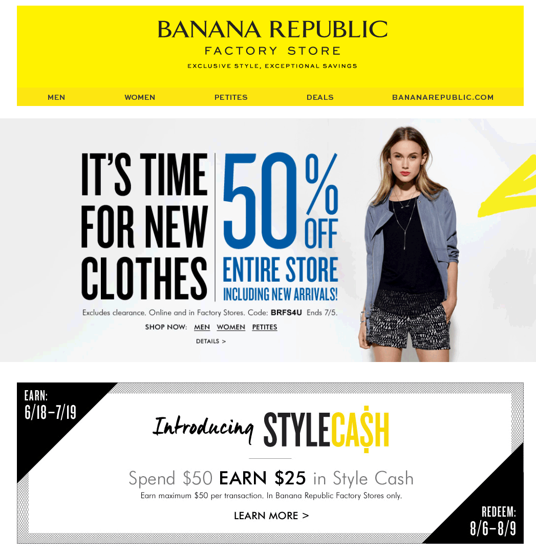 Banana Republic Factory Coupon April 2018 50% off everything at Banana Republic Factory, or online via promo code BRFS4U